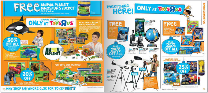 """Girls can't be scientists? The science section from a Toys """"R"""" Us Holiday Catalog shows only boys playing with science and technology-related toys"""