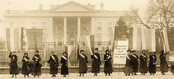The Silent Sentinels picketing the White House in 1917