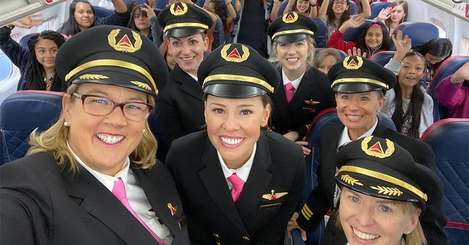 All-Female Flight Crew Flies 120 Girls to NASA to Inspire Future Female Aviators
