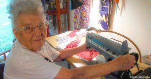 "94-Year-Old ""Rosie the Riveter"" Making Rosie-Themed Masks To Fight Coronavirus"